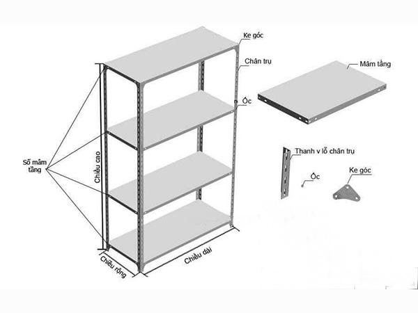 cấu tạo Giá kệ sắt v lỗ 3 tầng